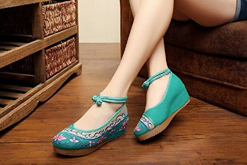 Lazutom Vintage Chinese Style Women Lady Embroidery Wedges Party Shoes Comfortable Casual Walking Shoes Green woSto52SHQ