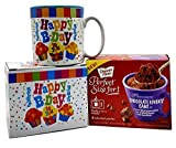 Happy Birthday Mug In Gift Box with 4 Mug Cake Mix Pouches Bundle (Chocolate Lover)