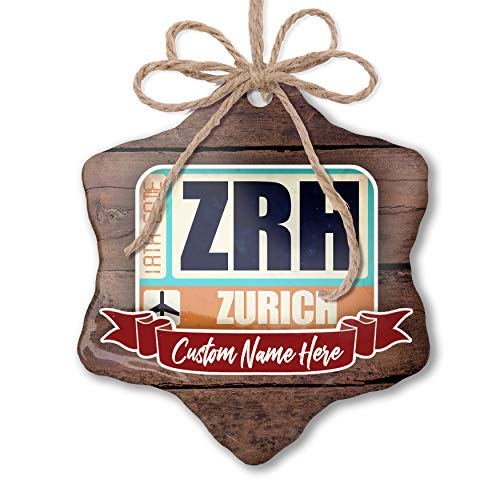 (NEONBLOND Custom Family Ornament Airportcode ZRH Zurich Personalized)