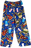 Made With Love and Kisses Super Fuzzy, Super Cozy Novelty Print Plush Pants (12/14, Royal Blue Fast Food)