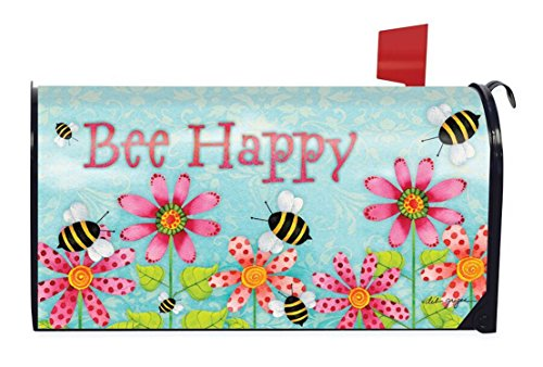 Spring Mailbox Cover - Briarwood Lane Bee Happy Spring Magnetic Mailbox Cover Floral Standard