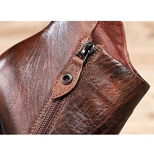 à hauts bottines fermeture chaussures confort vintage Zpedy talons glissière personnalité femmes pour noire Iw1xBapv