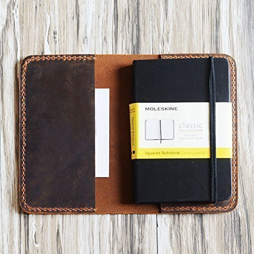 Refillable rustic Leather Journal cover for moleskine classic notebook pocket size/Cahier/Volant Journal (3.5 x 5.5) by EXTRA STUDIO