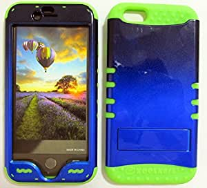 SHOCKPROOF HYBRID CELL PHONE COVER PROTECTOR FACEPLATE HARD CASE AND GREEN SKIN WITH STYLUS PEN. KOOL KASE ROCKER FOR APPLE IPHONE 6 TWO TONE BLACK BLUE GR-A005-ICG by runtopwell