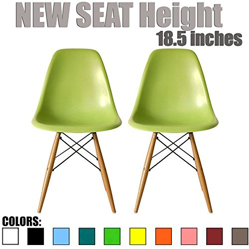 2xhome - Set of Two (2) - Eames Style Side Chair Eiffel Dining Room Chair - Lounge Chair No Arm Arms Armless Less Chairs Seats Wooden Wood Leg Wire Leg Dowel Leg Legged Base (Green - Natural legs)