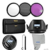 58MM Professional Lens Filter Accessory Kit Vivitar Filter Kit UV, CPL, FLD+ Carry Pouch + Tulip Lens Hood + Snap-On Lens Cap Cap Keeper Leash + VIVITAR Microfiber Cleaning Cloth FOR CANON EOS REBEL