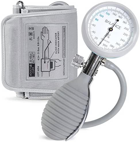 Balance Sphygmomanometer Adult Blood Pressure Monitor, Large Cuff Sizes, Travel Case, & Bulb Kit. Use with Stethoscope