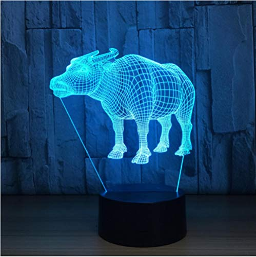 Acrylic Night Light 7 Color Changing 3D Lamp Bulbing Light Water Buffalo Cow 3D Illusion Night Light Led Creative Touch Desktop ()