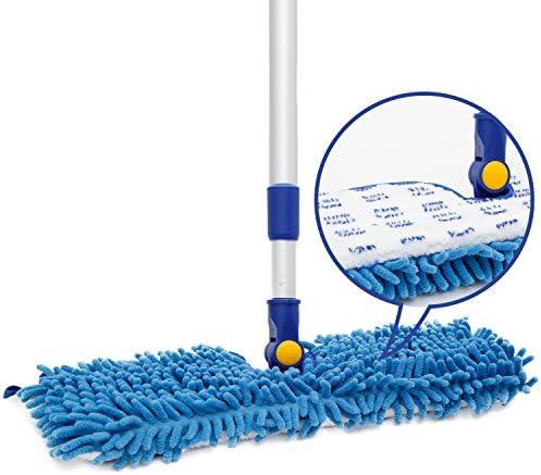 [해외]JINCLEAN 18 Microfiber Floor Mop   Dual Side Different Action Dust Mop Dry to Attract Dirt dust pet Hair Or Hardwood Floor Clean Telescopic Aluminum Pole Adjust Height max 51 / JINCLEAN 18 Microfiber Floor Mop   Dual Side Different...