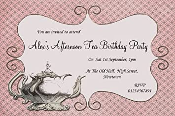 10 x Vintage Chic Afternoon Tea Theme Personalised Birthday Party ...
