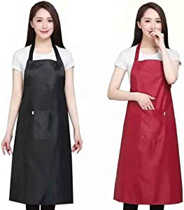 Home Waterproof Rubber Vinyl Apron - Best for Staying Dry When Dishwashing, Lab Work, Butcher, Dog Grooming, Cleaning Fish - Industrial Chemical Resistant Plastic,Woman waterproof apron(Red)…