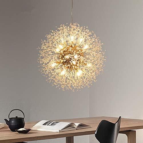 Modern Creative LED Pendelleuchte Gold Löwenzahn Hängeleuchten Höhenverstellbar Wohnzimmerlampe Kristall Hängelampe Eisen 8*G9 Fassung Ø40cm Warmweiß für Schlafzimmer Esstisch