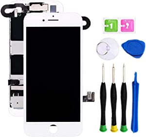 Premium Screen Replacement Compatible with iPhone 8 4.7 inch Full Assembly - LCD 3D Touch Display digitizer with Front Camera, Ear Speaker and Sensors, Compatible with All iPhone 8(White)