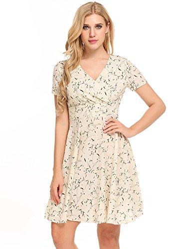 BEAUTYTALK Women's Floral Printed Cute Dress V Neck Short Sleeve Casual Tunic Midi Slim Dress (Short Dress Print Sleeve Wrap)
