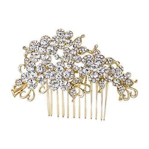 EVER FAITH Bridal Hair Comb Flower Cluster Clear Austrian Crystal Gold-Tone