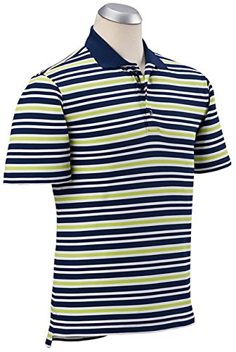 88564c37 Bobby Jones Men's Xh2o Performance Gulf Pique Stripe Golf Shirt, Summer  Navy, Medium