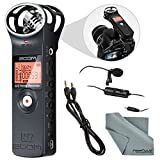 Zoom H1 Portable Digital Audio Recorder Bundle with Lavalier Mic + Cable + Fibertique Cloth
