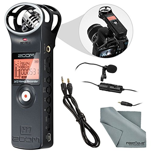 Zoom H1 Portable Digital Audio Recorder Bundle with Lavalier Mic + Cable + Fibertique Cloth by Photo Savings