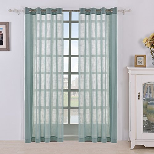 BEST DREAMCITY Panels Linen Look Sheer Curtains, Semi Sheer Grommet Top Drapes For Bedroom, Set of 2, W52 x L84, Blue-Green (Tailored Curtain Sheer Panel)