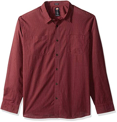 Dickies Men's Long Sleeve Relaxed fit Yarn dye Plaid Shirt, Rinsed Small Burgundy Check, S