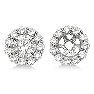 Round Diamond Earring Jackets for your 9mm Diamond Studs 14K White Gold 1.12ct