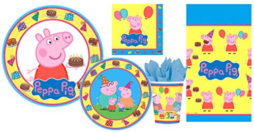 (Peppa Pig Party Supplies Bundle Pack for 8 guests | Napkins | Lunch Plates | Dessert Plates | Cups | Table Cover)