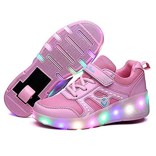 unyielding1 Kids Skate Shoes Roller Sneakers Birthday Halloween (Single-Pink 40/7 M US Big -