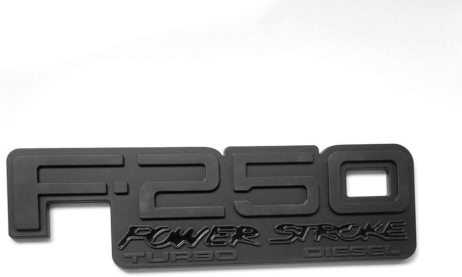 2pcs OEM F-250 Power Stroke Turbo Diesel Side Fender Emblem 3D Powerstroke Badge Replacement for F250 Super Duty 92-98 Black Red
