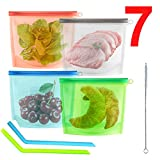 4 Bolsa Silicona Reutilizable Bolsas de Alimentos Comida Zip Trabajo Fruta Porta Sándwiche Bocadillo Almacenamiento Almuerzo Viaje Sin Bpa Hermética