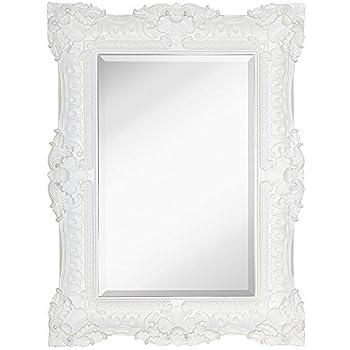 "Hamilton Hills Large Ornate White Gloss Baroque Frame Mirror | Aged Luxury | Elegant Rectangle Wall Piece | Vanity, Bedroom, or Bathroom | Hangs Horizontal or Vertical | 100% (30"" x 40"")"