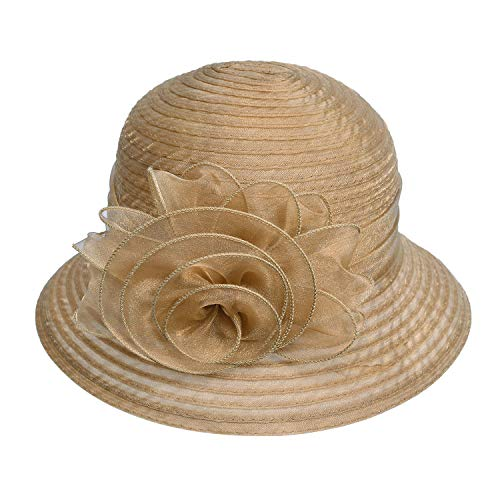 Pure Color 1920s Womens Summer Organza Bowler Sun Hat Derby Tea Party A267 (Light Brown, One Size)