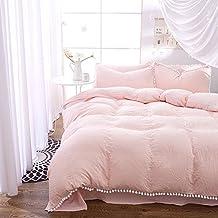 4pcs Princess Style Hydro-Cotton Pleat Material Bedding Sheet Set Pompon Edge (Queen, Light Pink)