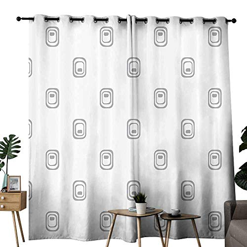 duommhome Grey Decor Bathroom Curtain Trippy Geometric Figures with Inner Stripes Styled Internal Equal Tiling Artwork Suitable for Living Room Bedroom W84 xL72 White