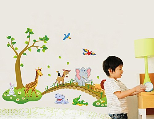 Childrens Wallpaper - Jungle Animal Across the Bridge Removable Cartoon Wall Sticker Wall Decal Wall Decor Wallpaper for Kids Children Room
