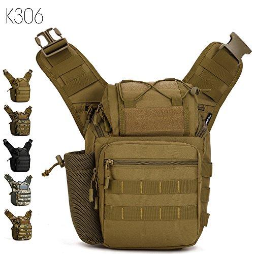 Taktisch Molle Umhängetasche, 5 Farben Outdoor Kamera Daypack Rucksack Handtasche Schultertasche mit Trageriemen von FLYHAWK K306-Braun