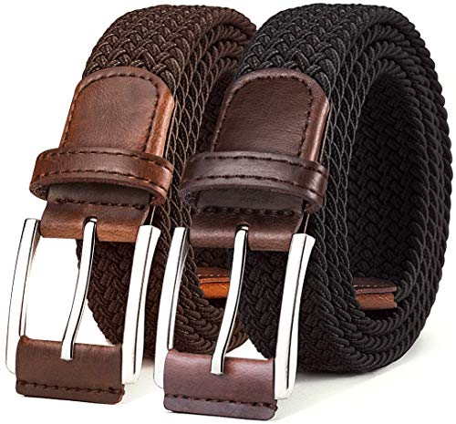 (Mens Belt,Bulliant Woven Stretch Braided Belt For Men 1 3/8,2 Unit Gift Packed)