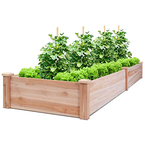 Giantex Raised Garden Bed Planter Wooden Elevated Vegetable Planter Kit Box Grow for Patio Deck Balcony Outdoor Gardening Natural
