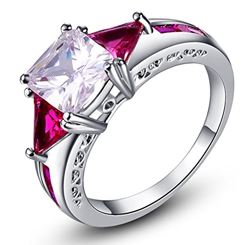 (Veunora 925 Sterling Silver Created Princess Cut White Topaz & Garnet Filled Dainty Ring for Women Size 6)
