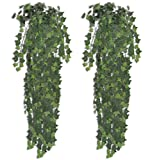 SKB family 2 pcs Green Artificial Ivy Bush 35'' Indoor and Outdoor Home Office tree Plant Decor