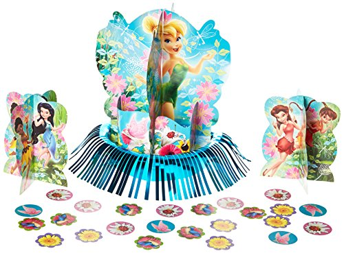 Tinkerbell Decorations (Disney Tinkerbell and the Fairies 3-D Birthday Party Table Decorating Kit, Multi Color, 12 3/5