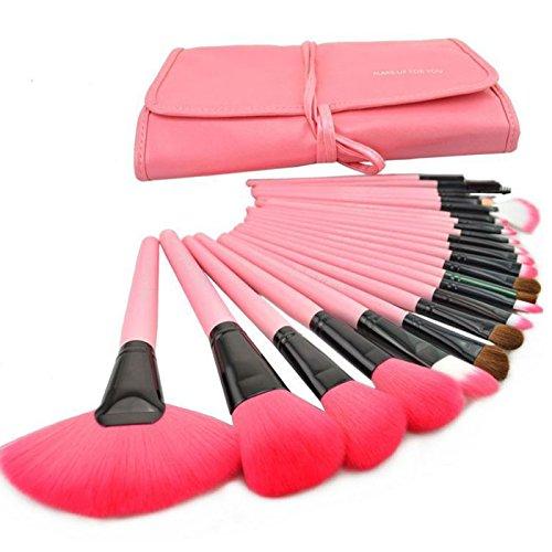 Zlimio Makeup Brush Set, 24 Pieces Pro Make Up Cosmetic Brush Foundation Blending Eyeshadow Wood Brushes Set ,Firm and Soft