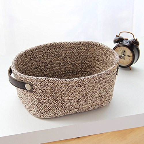 Aneil Cotton Rope Woven Basket with Leather Handle for Laundry Storage Artificial Plant pots (Brown)