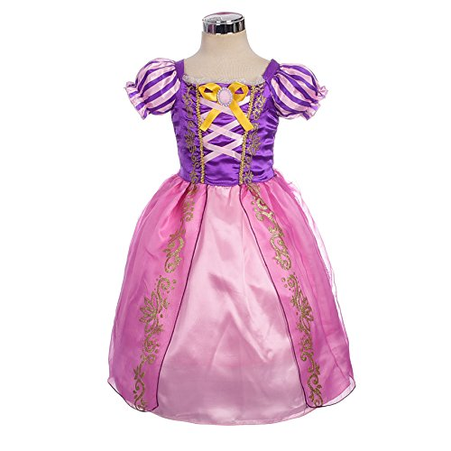 Dressy Daisy Girls' Princess Rapunzel Dress up Fairy Tales Costume Cosplay Party Size 4T (Up Girls Costumes Dress)