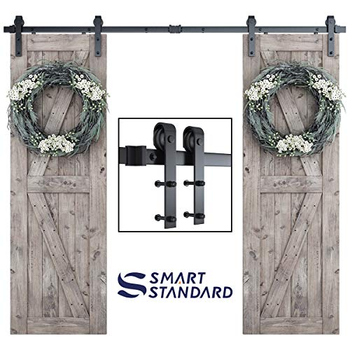 """8ft Heavy Duty Double Door Sliding Barn Door Hardware Kit -Smoothly and Quietly -Simple and Easy to Install -Includes Step-by-Step Installation Instruction - Fit 24"""" Wide Door Panel (J Shape)"""