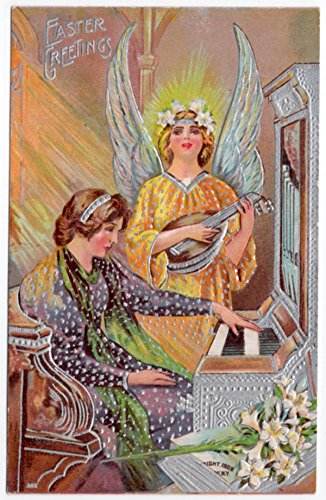 Angel Playing an Oud Vintage Easter Postcard