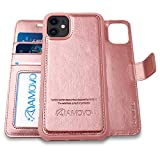 AMOVO Case for iPhone 11 (6.1'') [2 in 1] iPhone 11 Wallet Case Detachable [Vegan Leather] [Hand Strap] [Kickstand] iPhone 11 Flip Folio Case with Gift Box Package (iPhone 11 (6.1''), Rosegold)