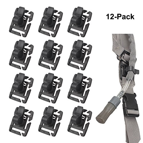 XTACER Tactical Molle Hydration Tube Clips Military Clips Rotatable Bladder Drinking Water Tube Clip (Black (12-Pack))