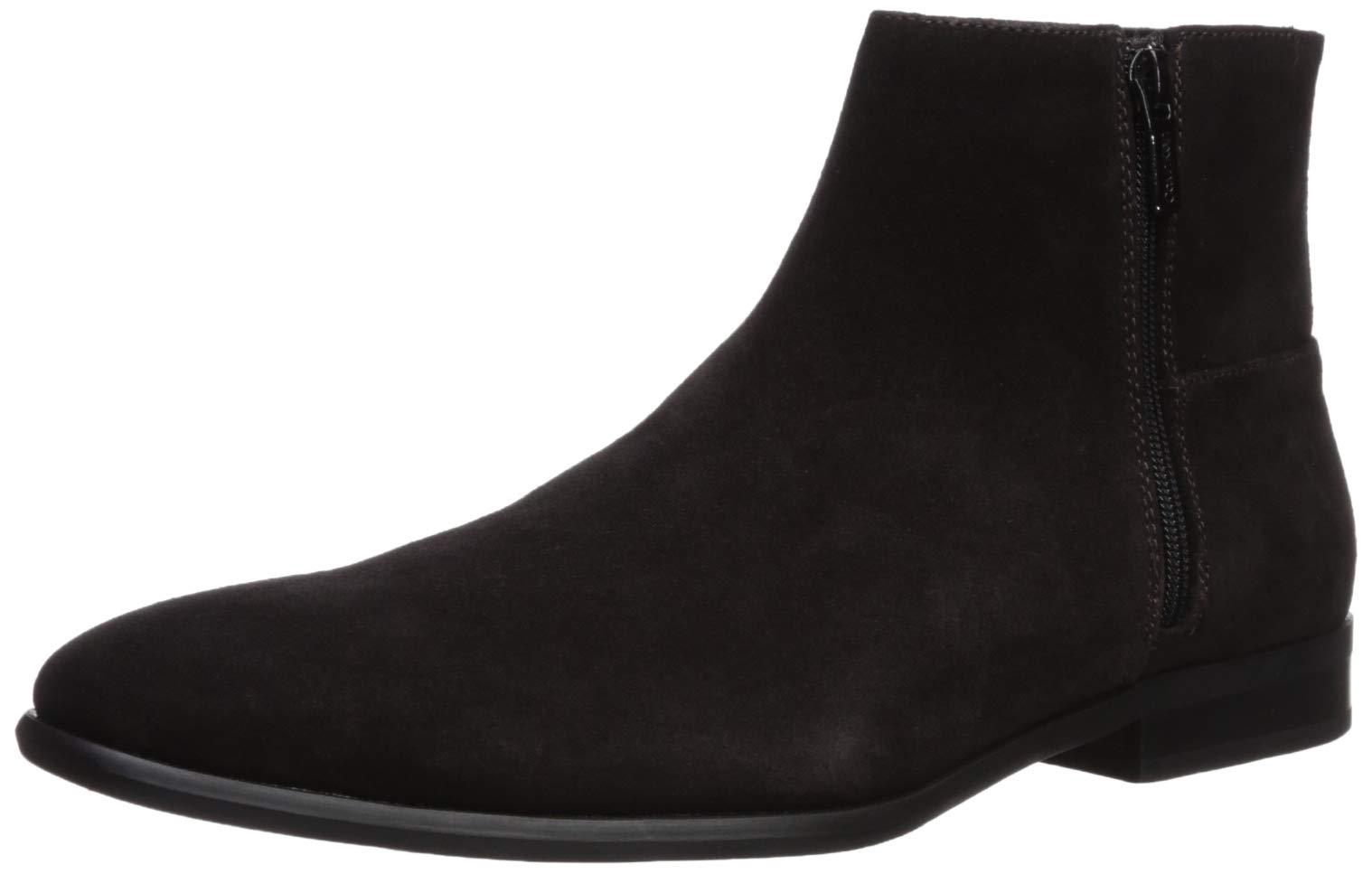 Calvin Klein Men's Luciano Ankle Boot Dark Brown Calf Suede 7 M US