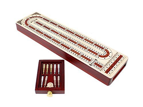 Shape Cribbage Board - House of Cribbage Continuous Cribbage Board Alphabet e Shape inlaid in Maple and Bloodwood with storage drawer for cribbage pegs 12.4