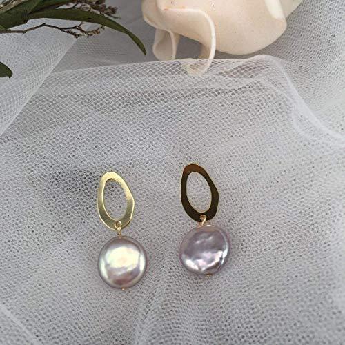 (Pink Freshwater Pearl Earrings 14K Gold - - June Birthday Earrings - Gold pearl Earrings Jewelry for Women)